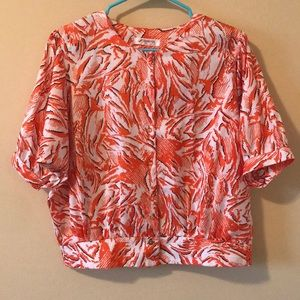 SHANG FUH Vintage Button Down Orange and White